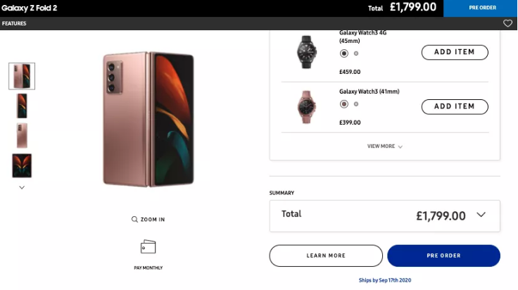 Galaxy Z Fold 2 Price Revealed and Deleted by Samsung