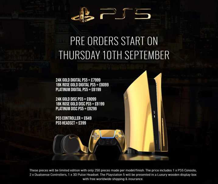 Gold Plated PS5 Announced Pre-Order Prices