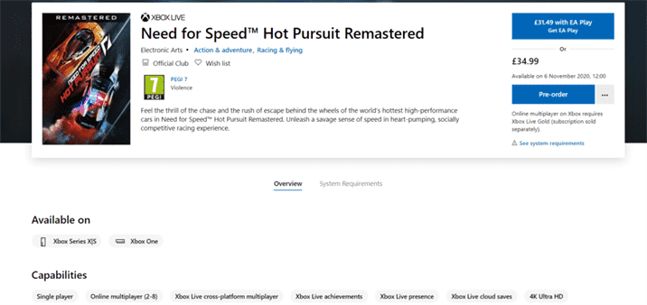 Need for Speed Hot Pursuit Remastered File Size Revealed