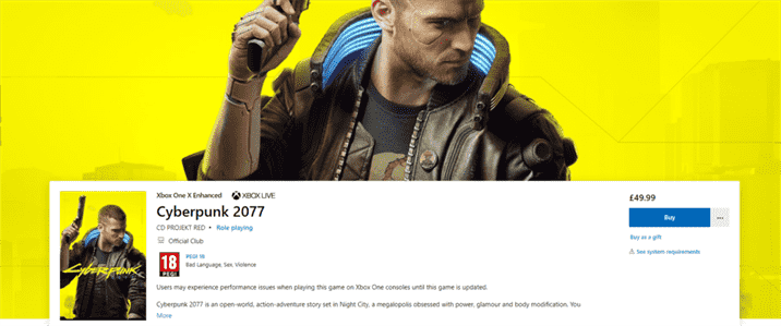 Cyberpunk 2077 Warning Message Placed on Xbox Store Page