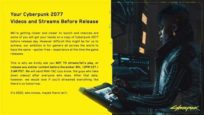 CD PROJEKT RED Makes A Disclosure For Cyberpunk 2077 Videos