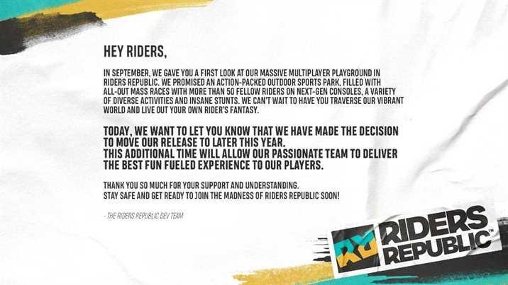 Riders Republic Delayed Ubisoft Announces
