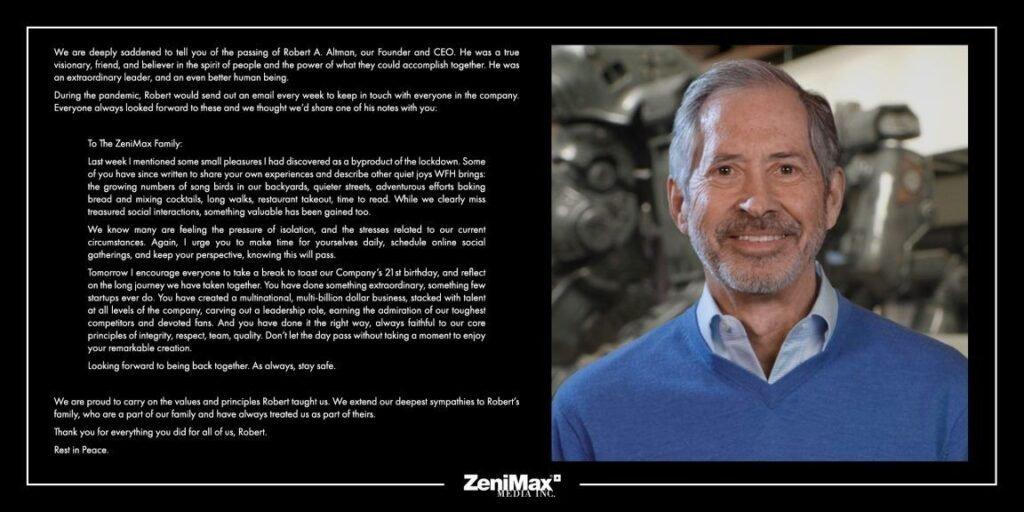 Robert Altman Passed Away Founder and CEO of ZeniMax