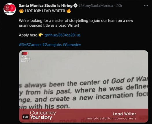Sony Santa Monica is looking for a master of storytelling for an unannounced project