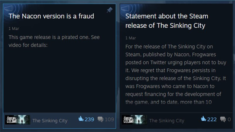 The Sinking City Steam Version is Pirated