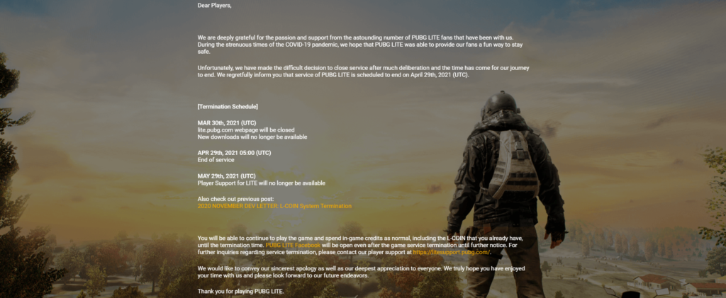 PUBG Lite Is Being Shutting Down Officially