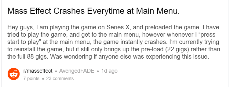 Mass Effect Legendary Edition is Crashing on Xbox. Here is a Fix