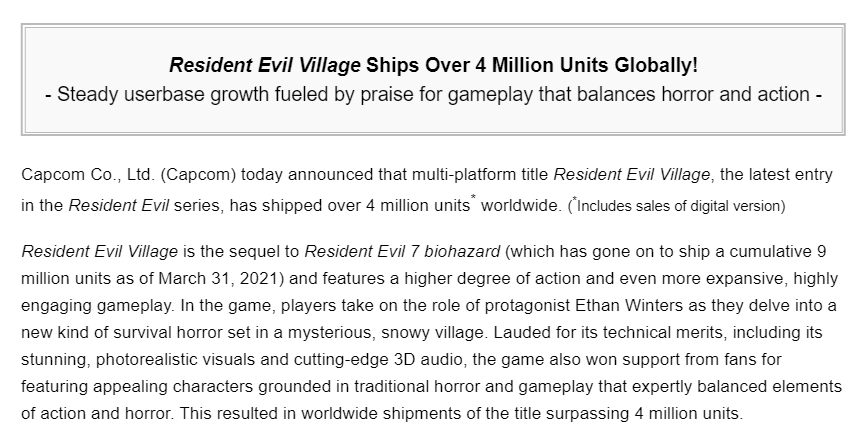 Resident Evil Village Ships 4 Million Copies Worldwide