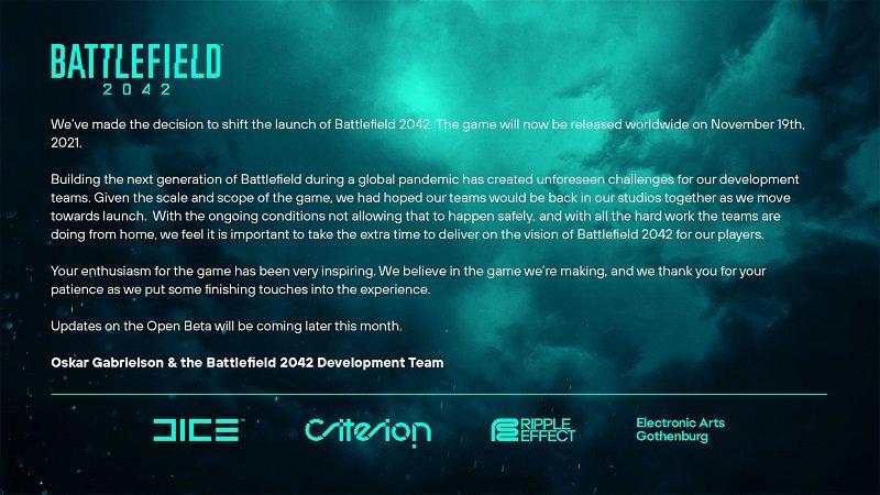 Battlefield 2042 Delayed to November 2021